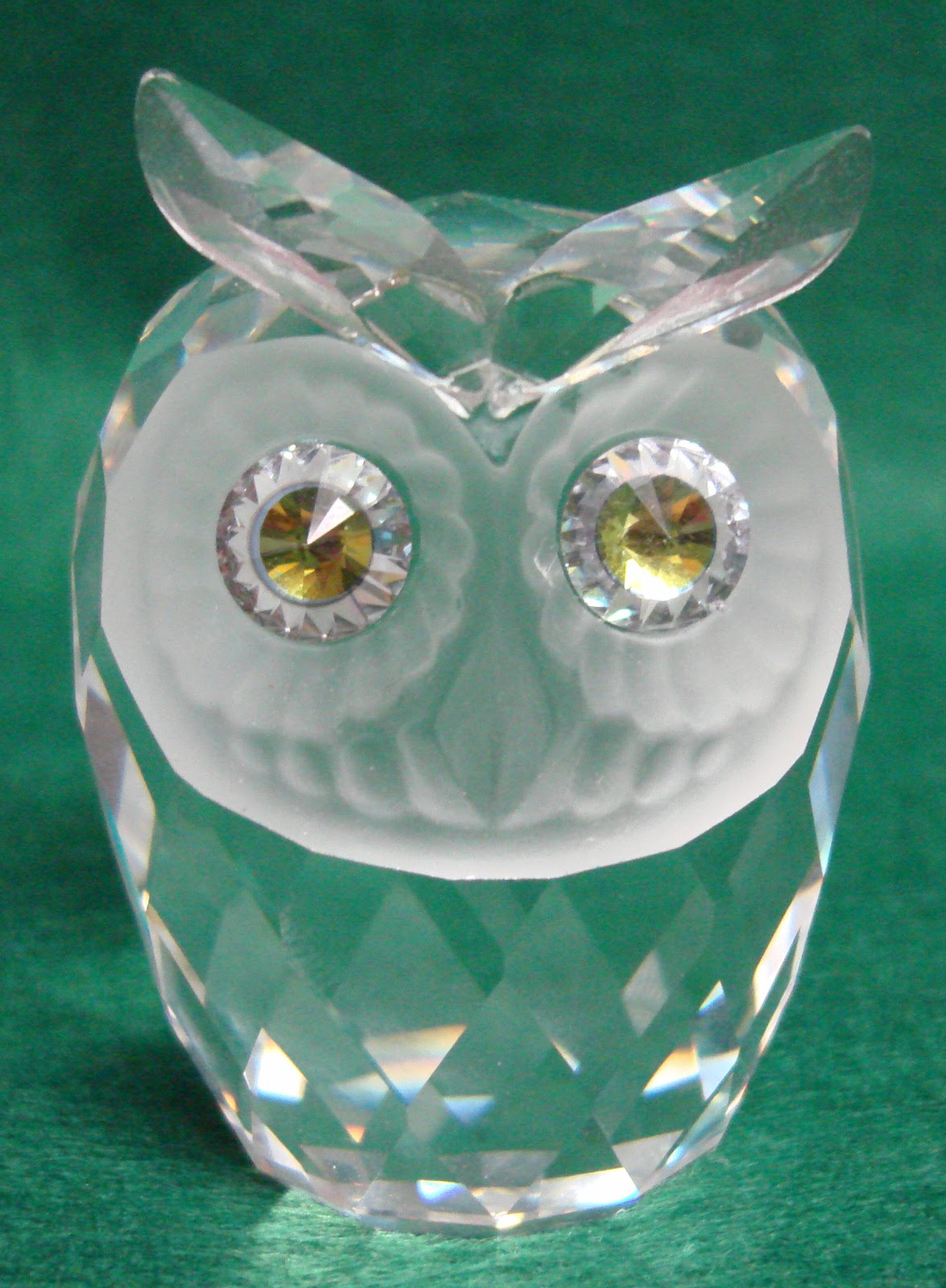 Swarovski Crystal Large Owl Signed Swarovski Yellow Green Eyes | eBay