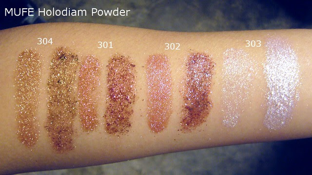 mufe holodiam powder swatches indoor yellow