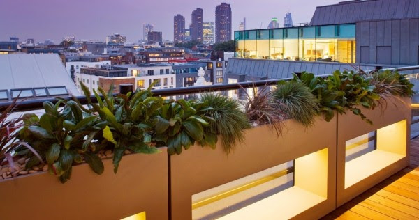 Concrete planters create a contemporary image, and look amazing with some creative lighting. Isn't this just the perfect place to throw back a well earned cocktail at the end of a tough working day?