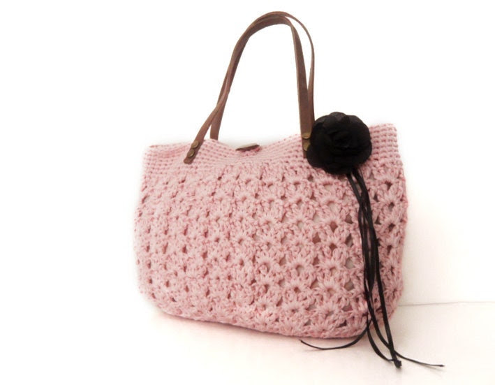 pink  summer bag- Handbag Celebrity Style With Genuine Leather Straps / Handles shoulder bag-crochet bag-hand made - Sudrishta