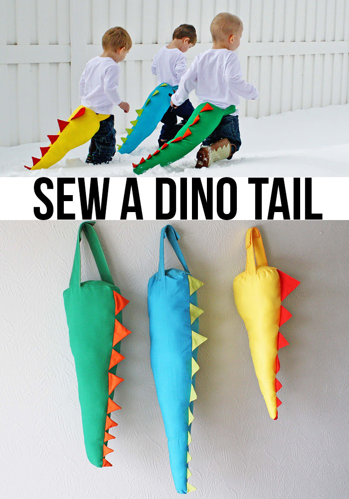 sew a DIY dinosaur (dino) tail