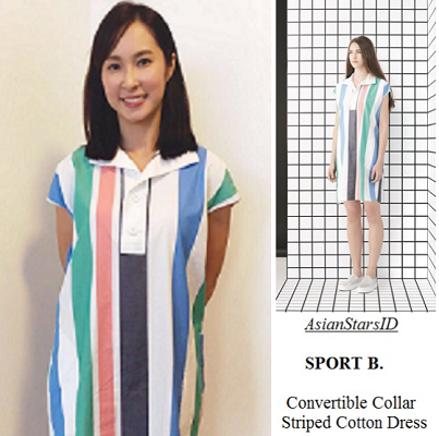Mightiest Mother-in-Law - Paige Chua: SPORT B. Convertible Collar Striped Cotton Dress - AsianStarsID