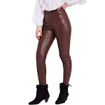 Free People Faux-Leather High-Rise Skinny Pants - Brown