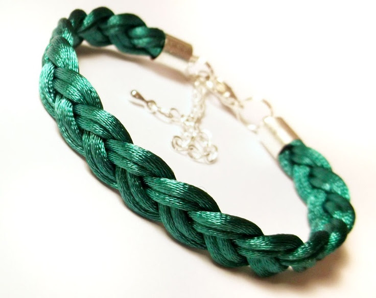 Braided bracelet woven rope plaited cord macrame friend knot adjustable modern satin jewelry gift for her- teal green jade. $7.00, via Etsy.