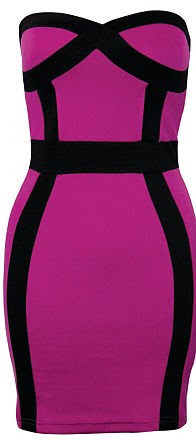 Bandeau panel bodycon dress, £42, rarefashion.co.uk