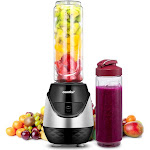 Comfee' Single Serving Blender with 2 Tritan Sport Bottles (20 Oz) and 2 Travel Lid for Morning Smoothie or A Post-Workout Protein Shake (Black & Red)