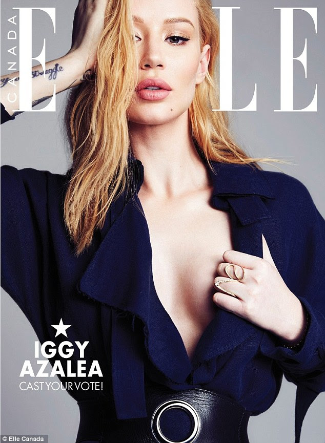 Taking the plunge: Iggy Azalea flaunts a glimpse of her cleavage on this cover of Elle Canada