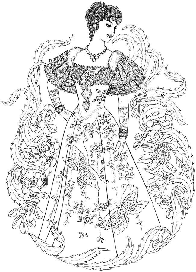 アンティークドレスの女性の塗り絵 外国のアンティークヴィクトリアン
