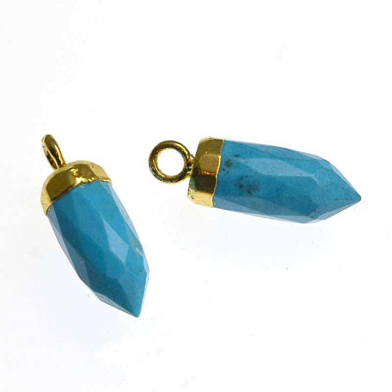 s34725 Stone Pendant - Short Bullet Drop with Cap - Turquoise