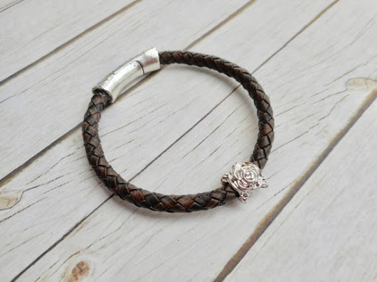 Sturdy brown braided leather bracelet ladies mens jewelry