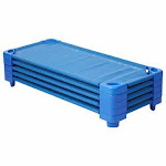 """Ecr4kids Children's Naptime Cot, Stackable Daycare Sleeping Cot for Kids, 52"""" L x 23"""" W, Assembled, Blue (Set of 5)"""