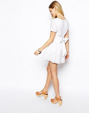 Image 2 ofASOS PETITE Exclusive Wrap Front Playsuit with Embroidered Short