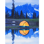 Camping tent at sunset small reflecting pond near tipsoo lake mount rainer national park near seattle;Washington united states of america Poster Print