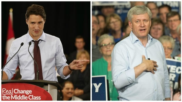 Liberal Leader Justin Trudeau is hoping to make inroads among Conservative Leader Stephen Harper's supporters.