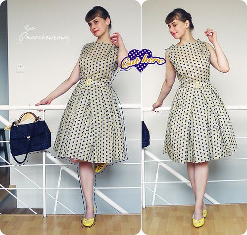 ♥ Cut here, burda, wykrój, sukienka, szycie, retro, vintage, 50s