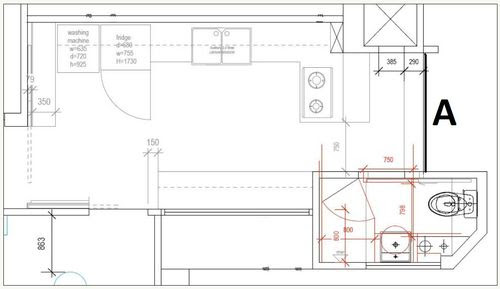 Kitchen Layout: [A] - Kitchen Window