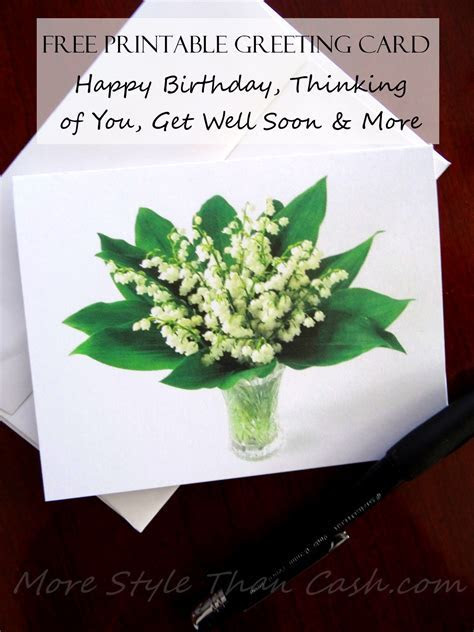 Free Printable Greeting Card Lily Of The Valley