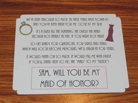 cute way to invite someone to be your bridesmaids/maid of