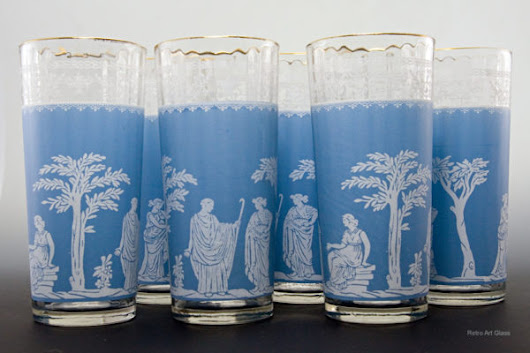 Neoclassic Style Wedgwood Tall Tumblers - Retro Art Glass