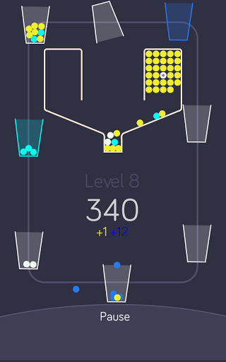 Screenshots of the 100 balls with the cups for Android tablet, phone.