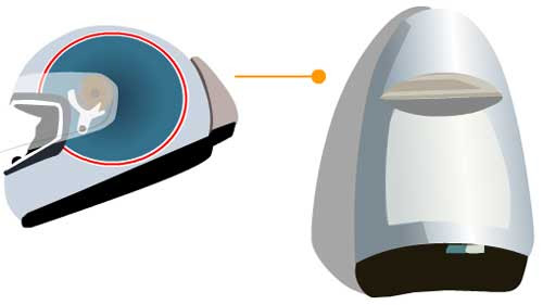 desenho capacete com airbag