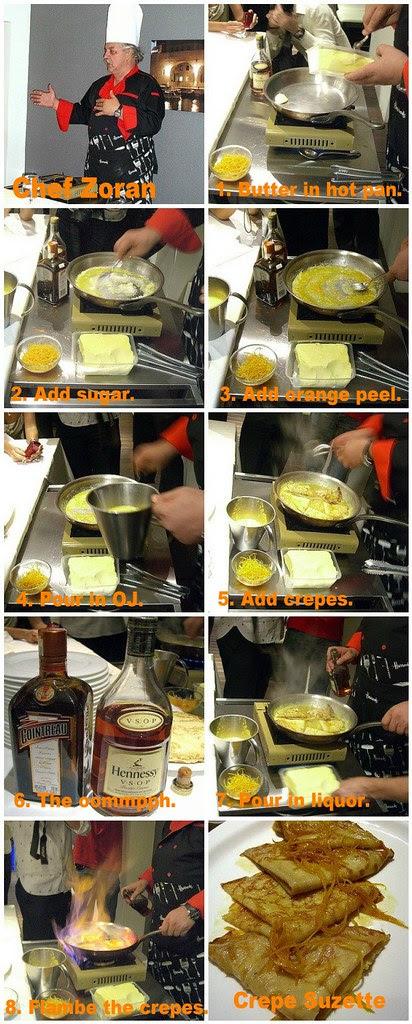 Chef Zoran cooking Crepe Suzette
