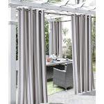 Commonwealth Outdoor Décor Coastal Stripe Grommet Top Curtain Panel - 50 x 96 Taupe Stripe