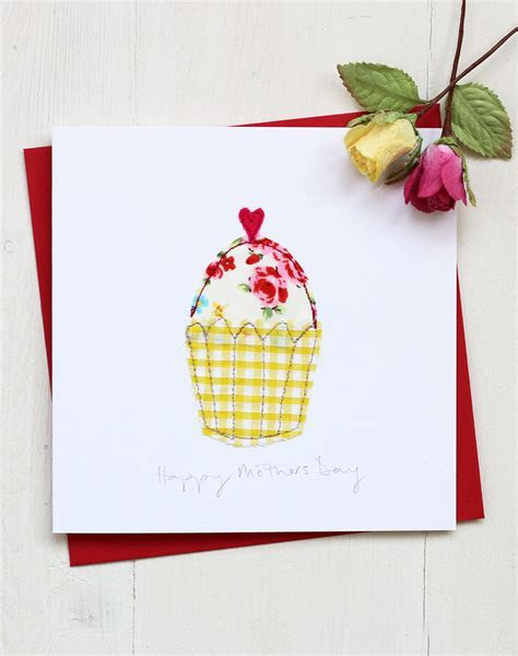 Handmade Mothers Day Card   Embroidered Cupcake Design