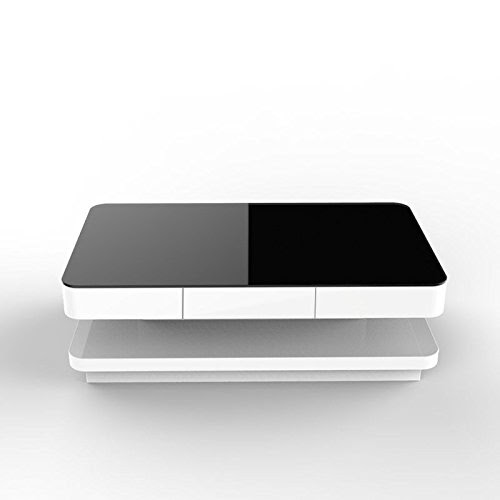 UEnjoy Gloss Coffee Table White with Drawers and Black Tempered GlassTop Living Room Furniture