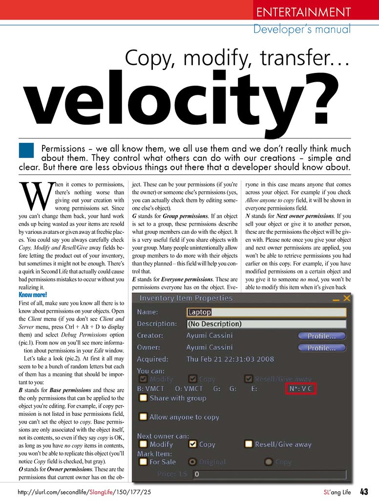 Copy, modify, transfer... velocity 01