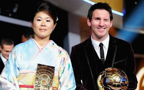 Homare Sawa and Lionel Messi ugly face, blinking an eye at the FIFA Balon d'Or 2011-2012 awards
