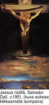 Jeesus ristillä, Salvador Dalí, v.1951, (kuva aukeaa klikkaamalla isompana)