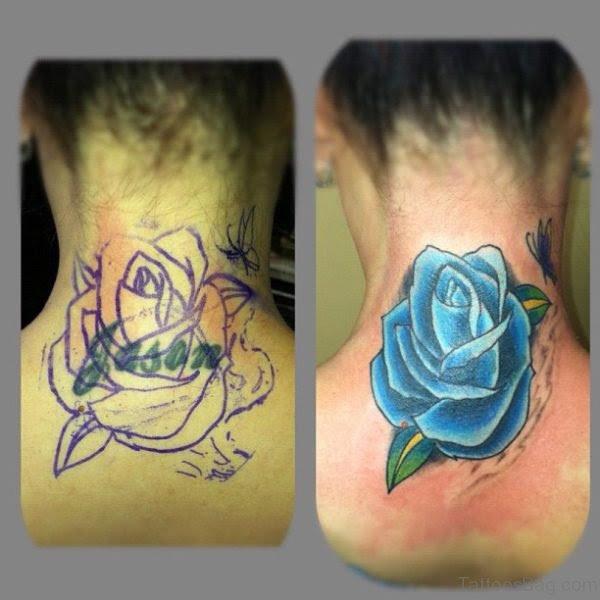 19 Best Blue Rose Tattoos On Neck