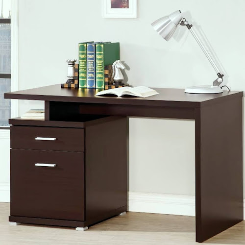 Modern Design Home Office Cappuccino Writing Computer Desk With File Cabinet
