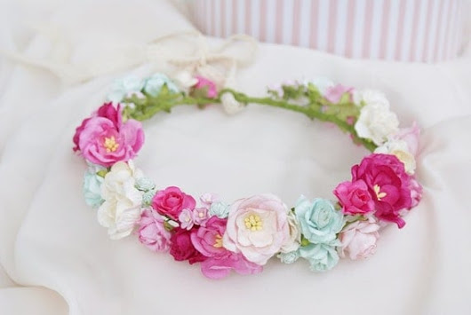 Wedding crown pink floral crown pink flowers Mint by mamwene