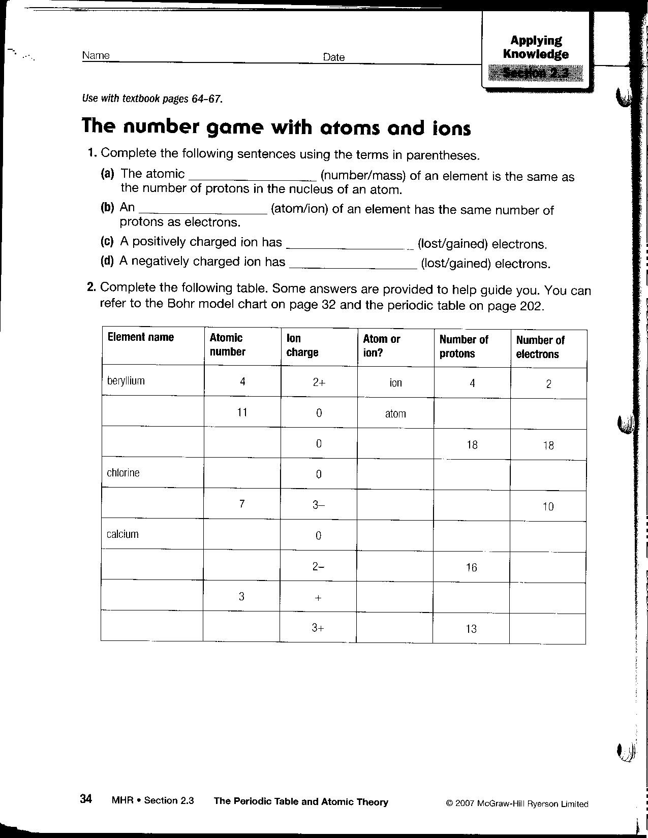 13 Best Images of Atomic Structure Practice Worksheet  Periodic Table Worksheet Answer Key