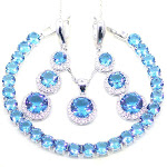 925 Sterling Silver 3 PC Jewelry Set for Women, Created Blue and White Round Stones from Gifts Are Blue