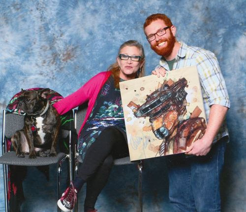 In celebration of May 4, here is me, with Carrie Fisher, and a painting I made for her to sign and for a photo op :)