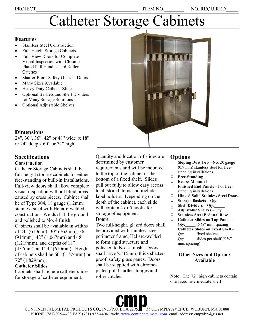Catheter Storage Cabinets Continental Metal Products Pdf