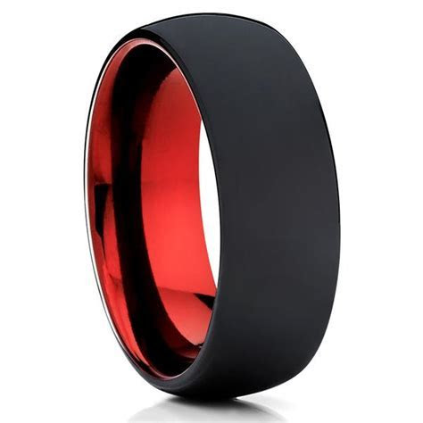 Red Tungsten Ring   Tungsten Wedding Ring   Matte Polish
