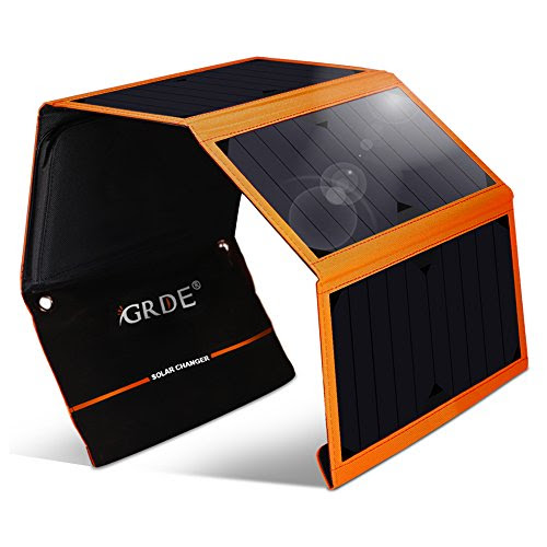 Solar Charger, 24W Folding Solar Panel Charger With Dual USB Port For All 5V Digital Devices (Orange) - Klookl