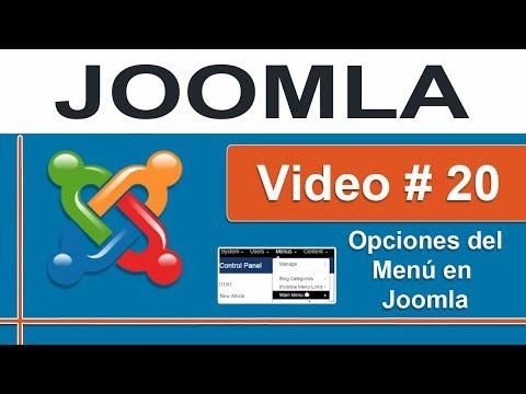 Opciones de menú en Joomla