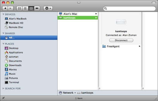 Connecting to a shared volume in the Finder