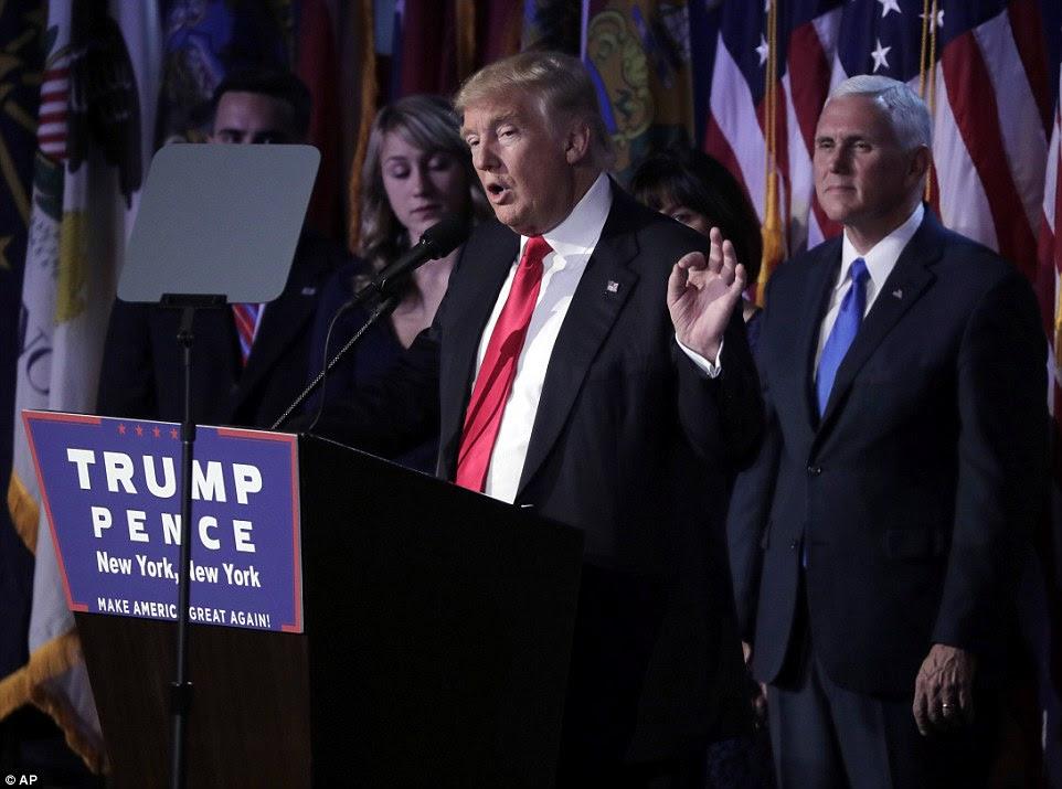 """mensagem unificadora: Trump disse críticos: """"Para aqueles que optaram por não apoiar-me no passado - de que havia algumas pessoas - eu estou chegando para você por sua orientação e sua ajuda para que possamos unificar nosso grande país"""""""