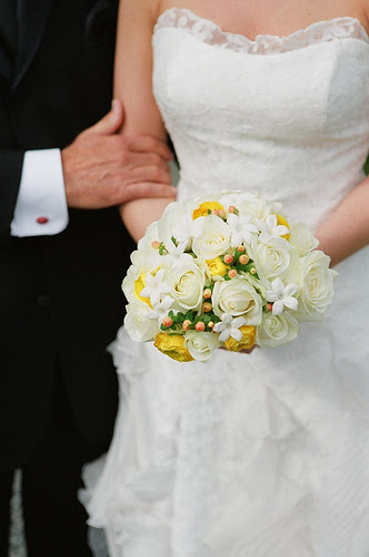 A small bridal bouquet made up of two or three types