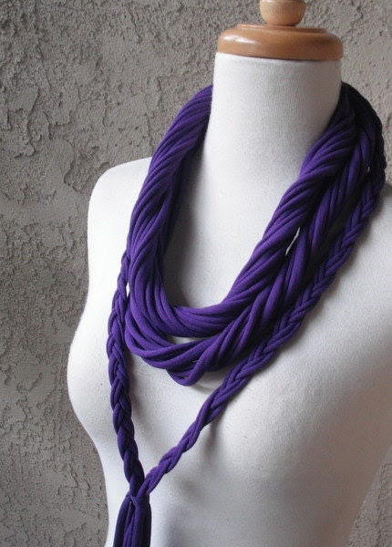 Braided Purple Jersey Scarf Necklace, Circular, Infinity, Cowl