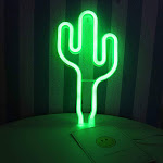 LED Green Cactus Neon Sign Wall Decor USB or Battery Operated Neon Night Lights Lamps Art Decor Wall