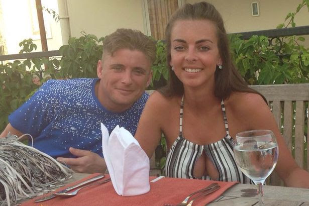 Daniel Da Silva (pictured with partner Nadel) fell asleep in the in the sun in Cyprus without applying sun lotion and was left with an outline of his iPhone and the charger on his chest which left the outline of the phone on his sunburnt skin