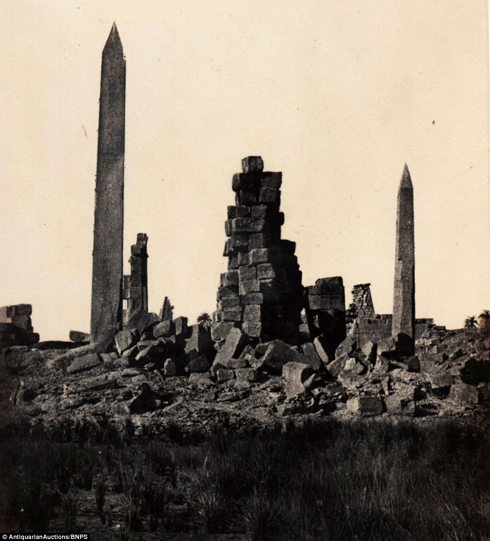 The ruined Temple of Karnak in Thebes - Modern Luxor - was captured by Du Camp, who spent hours in the heat of the desert with his wooden Calotype camera and tripod, before using the jugs of chemicals he needed to bring the images to life