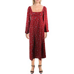 Free People Womens Iris Floral Print Square Neck Midi Dress Red